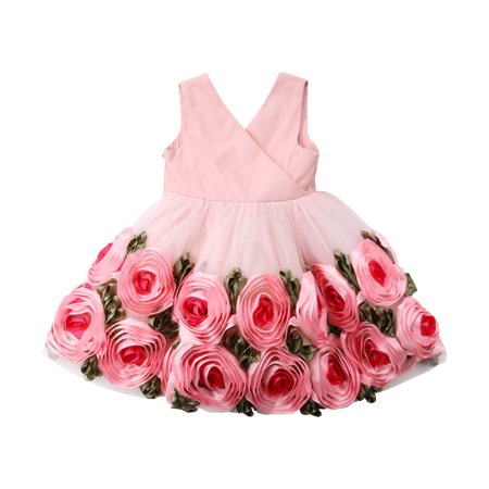 Cute Girls Flower Lace Dress Bridesmaid Party Ball Prom Wedding Christening Princess - Flower Girl Balls