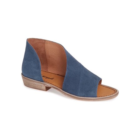 People Leather - Free People Womens Mont Blanc Leather Open Toe Casual, Blue/ Suede, Size 8.5