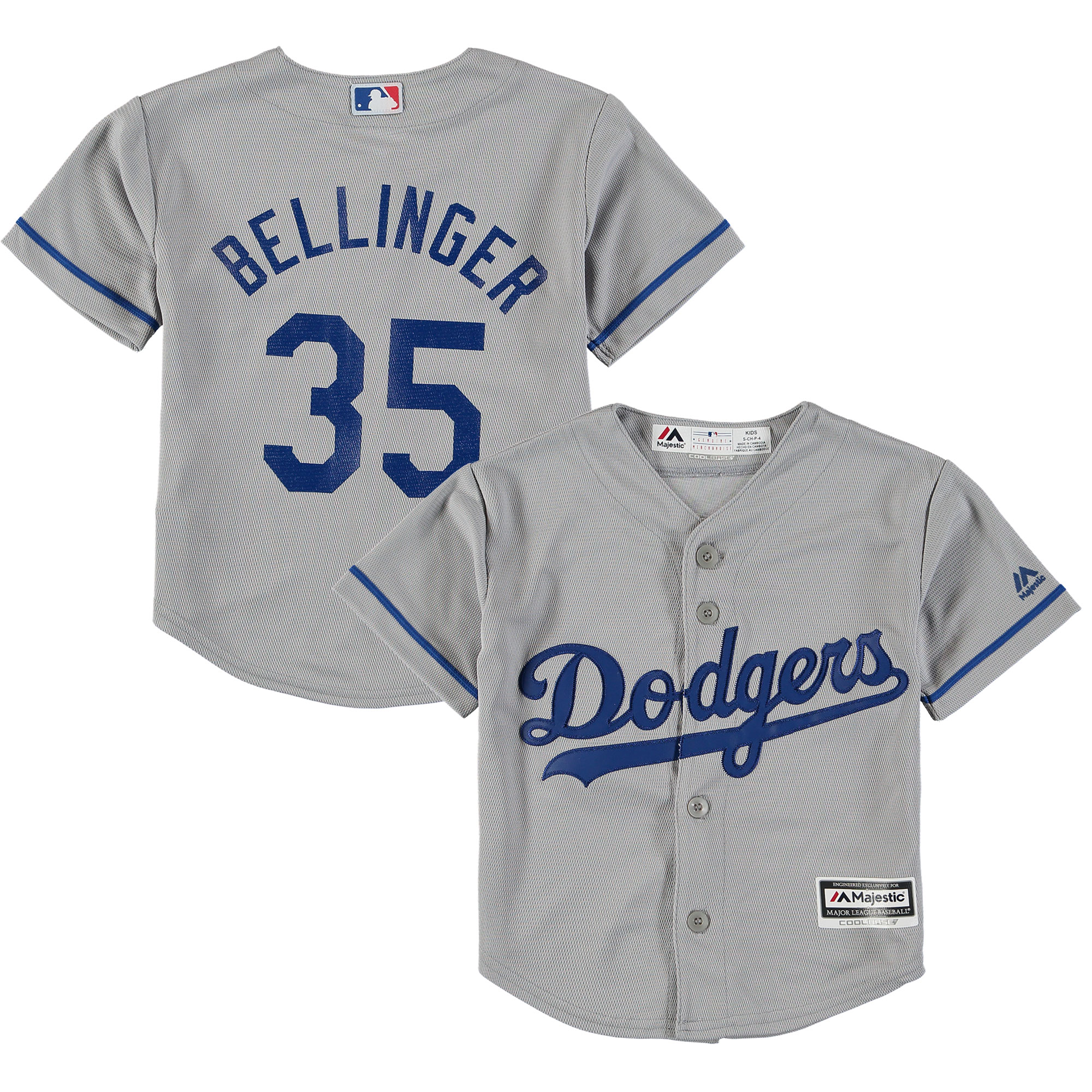 Cody Bellinger Los Angeles Dodgers Majestic Preschool Road Official Cool Base Player Jersey Gray by Outerstuff