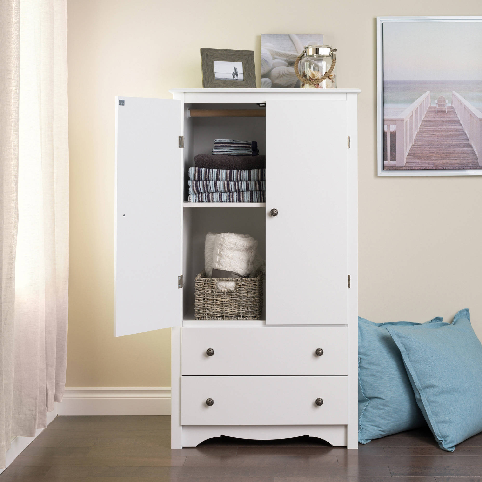 Monterey 2 Door Armoire, White (Box 1 Of 2)