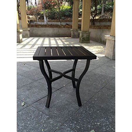Outdoor Powder-Coated Aluminum Black Slat Top Side Table ()