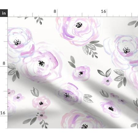 Floral Vintage Look Roses Lavender Purple Girl Fabric Printed by Spoonflower BTY Vintage Velvet Flowers