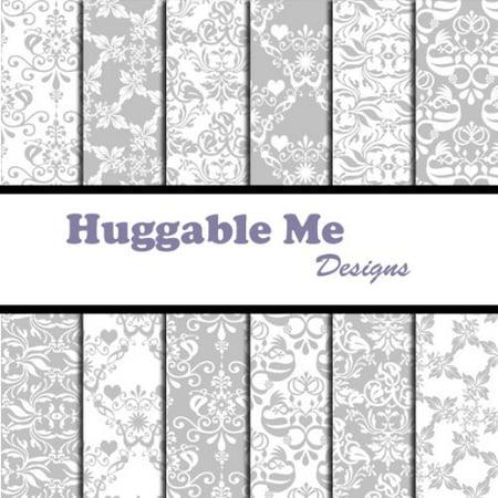 Silver Damask Scrapbook Paper on CD, 12 Designs of digital scrapbook paper on CD By Huggable Me Designs