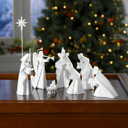 One Hundred 80 Degrees White Porcelain Origami Nativity Set - 9 Piece Set Christmas Holiday Decor (Nativity Christmas)