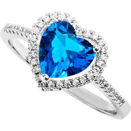 Pori Jewelers Swarovski Elements 14kt White Gold-Plated Round-Cut December Blue Zircon Ring