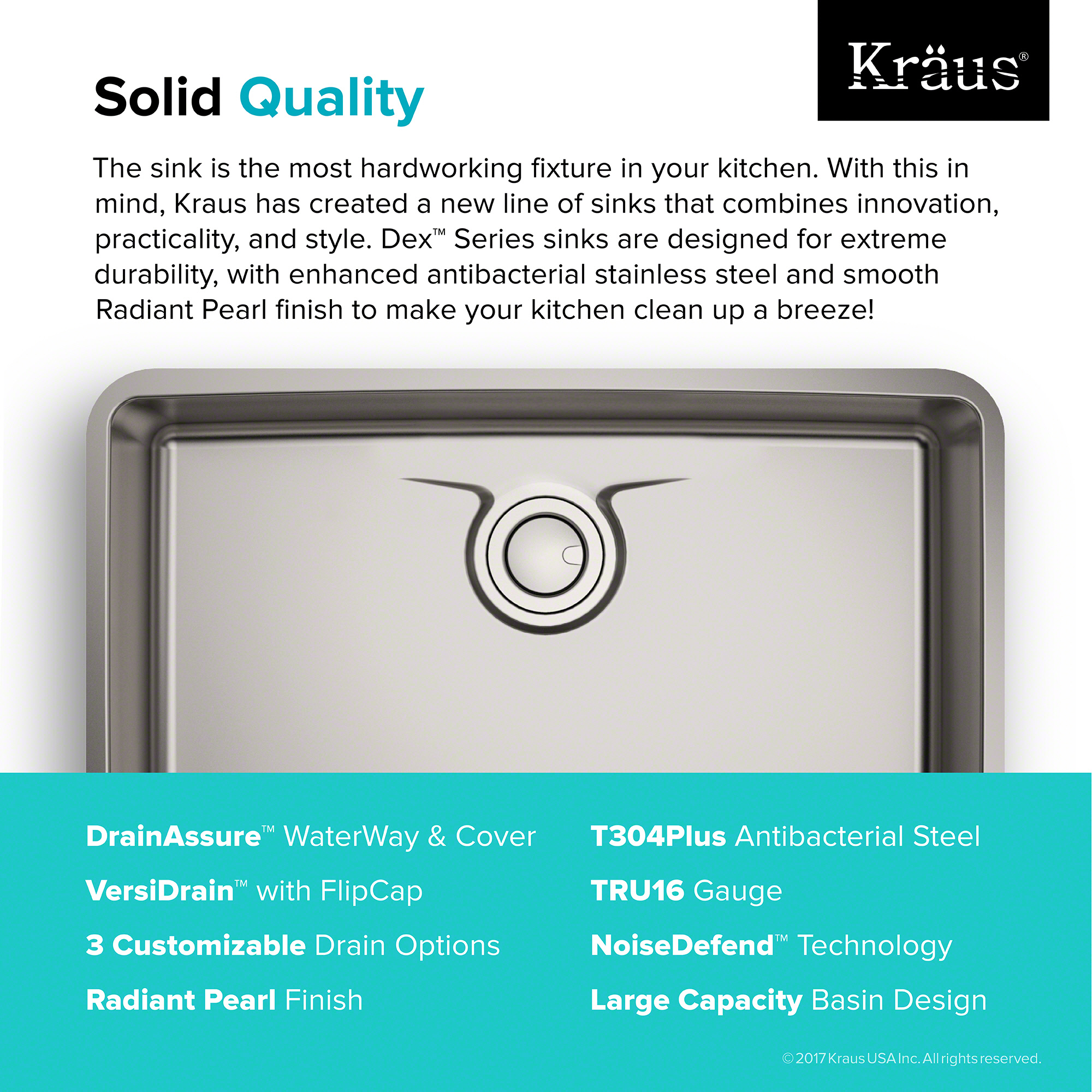 kraus dex™ 33-inch undermount single bowl t304plus tru16