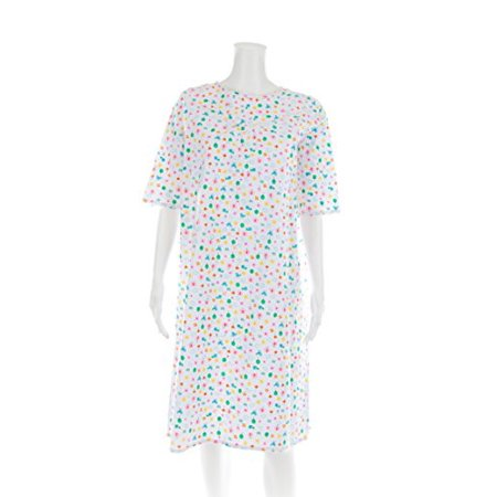 Women's Adaptive Flannel Backwrap Gown - Chick Butterflies & Flowers On a White Background - -