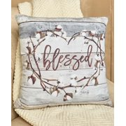 "Cotton Boll Accent Pillows Choice of Set of 3 Pillows, Blessed Pillow, Home Pillow, or Love Pillow (Blessed 17"" Pillow)"