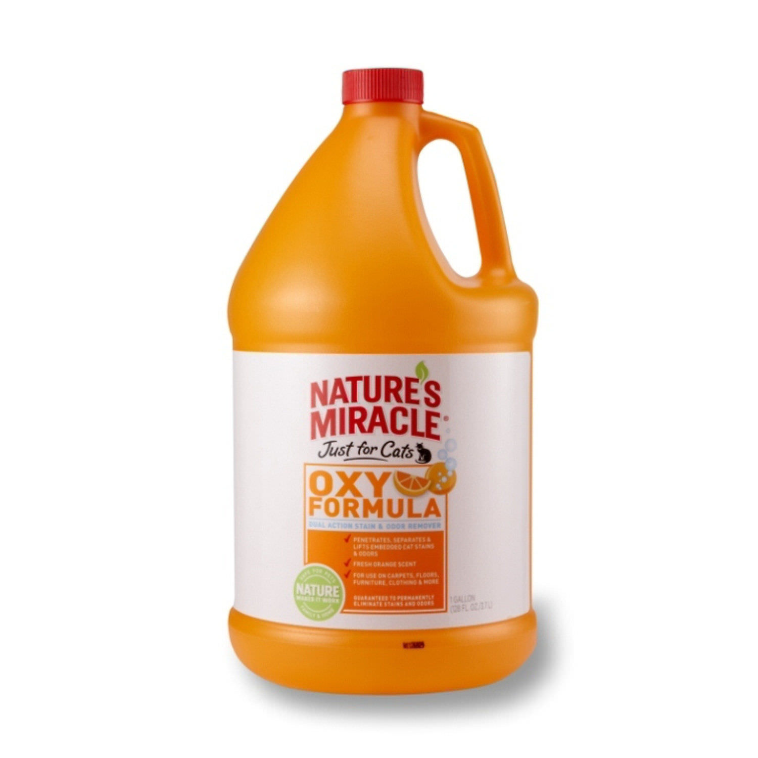 Nature's Miracle Just For Cats Orange Oxy Dual Action Stain and Odor Remover, 1 Gallon
