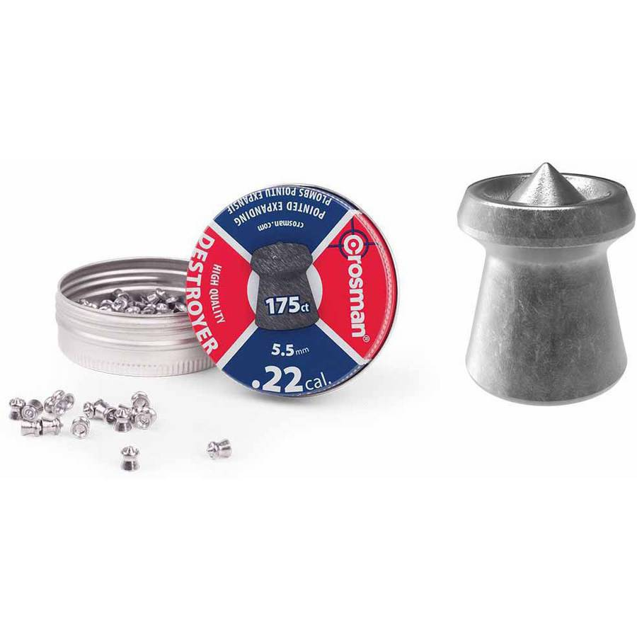Crosman Destroyer .22 Caliber 14.3gr Airgun Pellets, 175ct