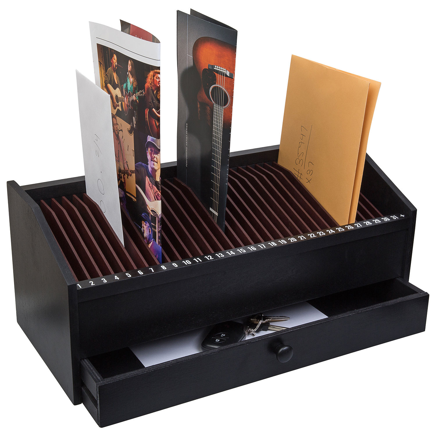32 Slot Wooden Bill/Letter Organizer With Drawer - Black