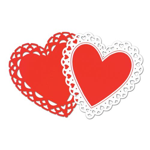 Pack of 24 Red and White Heart Silhouette Cutout Decorations 15""