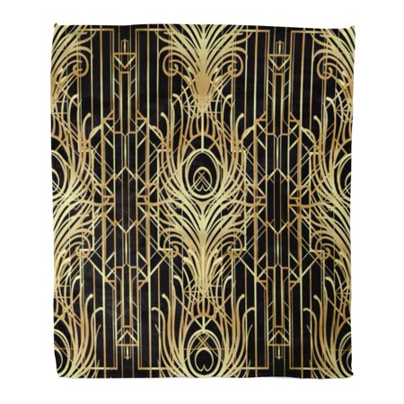 HATIART Semtomn Decorative Throw Blanket 50x60 Inches Geometric in Black and Gold Roaring 1920 Jazz Era Warm Flannel Soft Blanket for Couch Sofa Bed - image 1 of 1