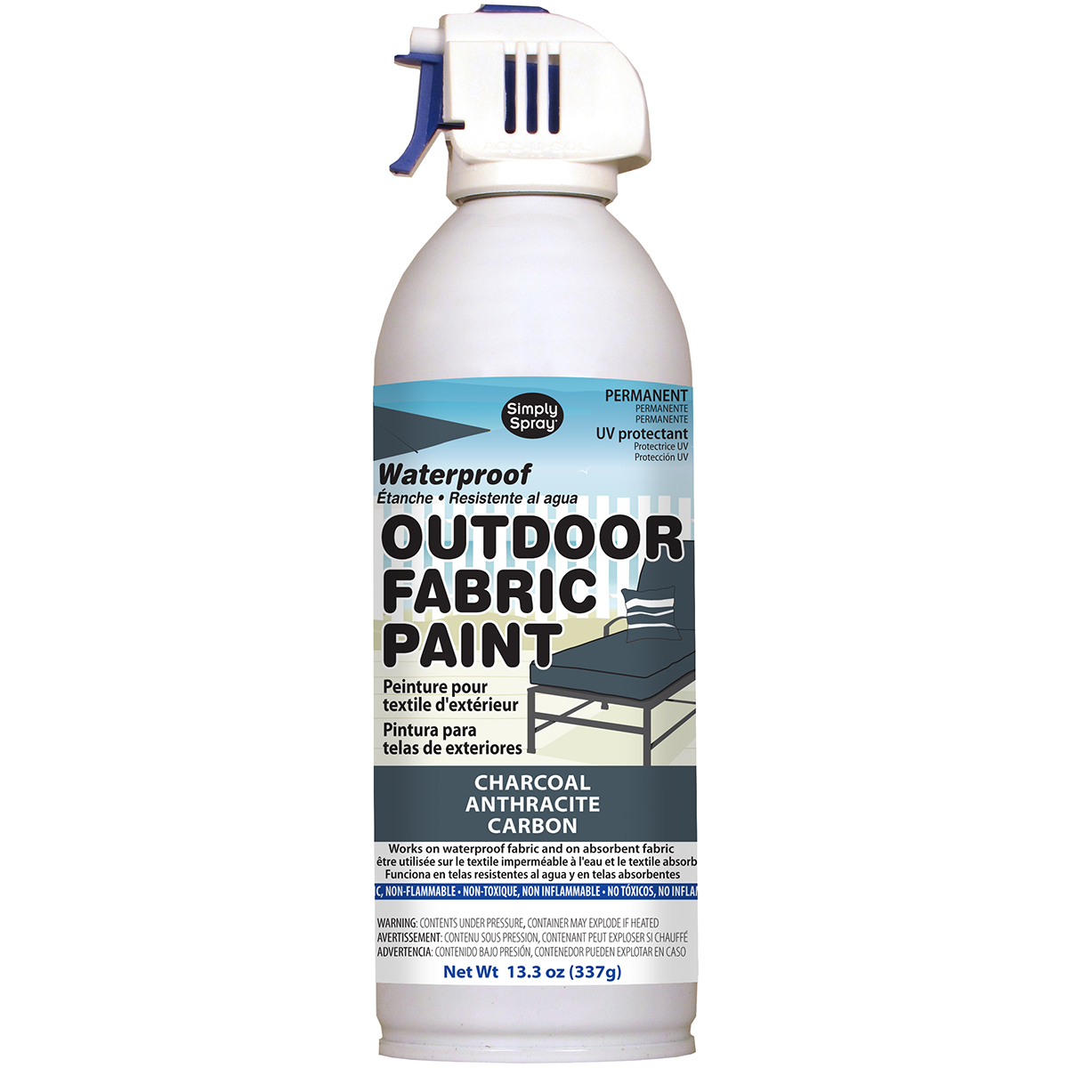 Outdoor Spray Fabric Paint 13.3oz-Charcoal