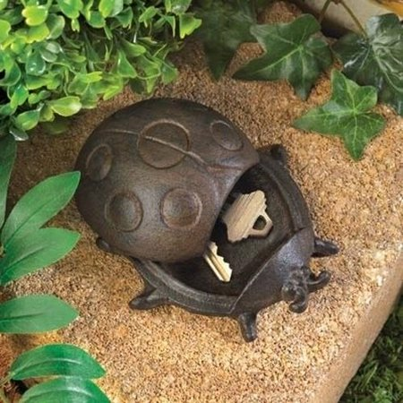 Garden Key Hider Ladybug Outdoor Lawn Yard Cast Iron Hide Safe Storage Decor (Outdoor Yard Decor)