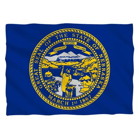 Nebraska Flag (Front Back Print) Pillow -
