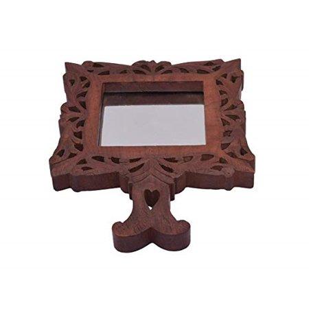storeindya Floral Mango Wooden Hand Crafted Hand Mirror Diwali Gift Ideas ()
