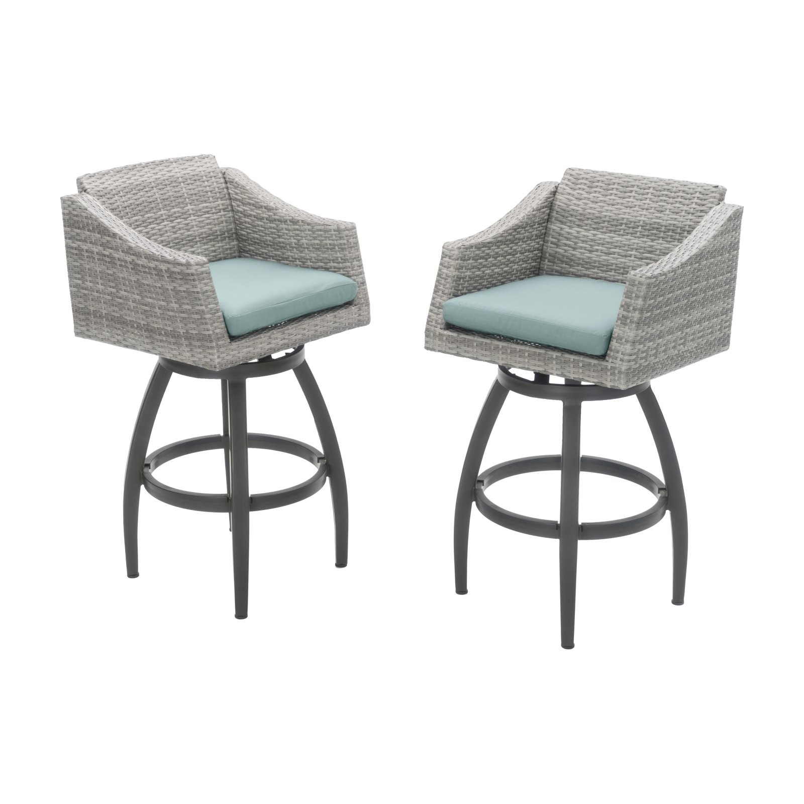 Cannes Set of 2 Swivel Barstools in Sunbrella Charcoal Grey by RST Brands