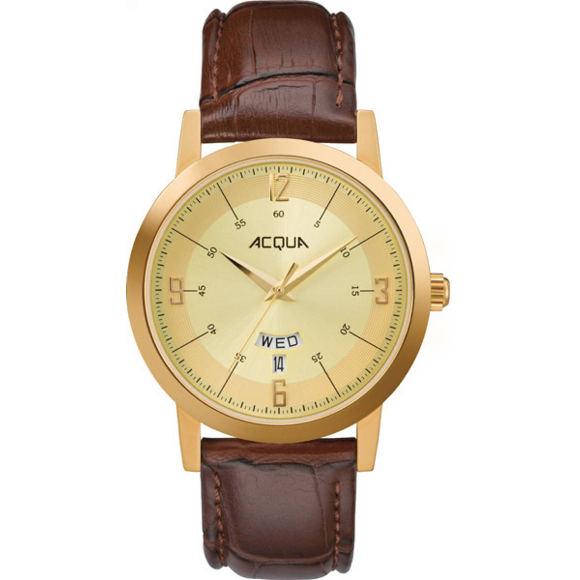 Image of Acqua by Timex Men's Gold-Tone Watch, Brown Leather Strap