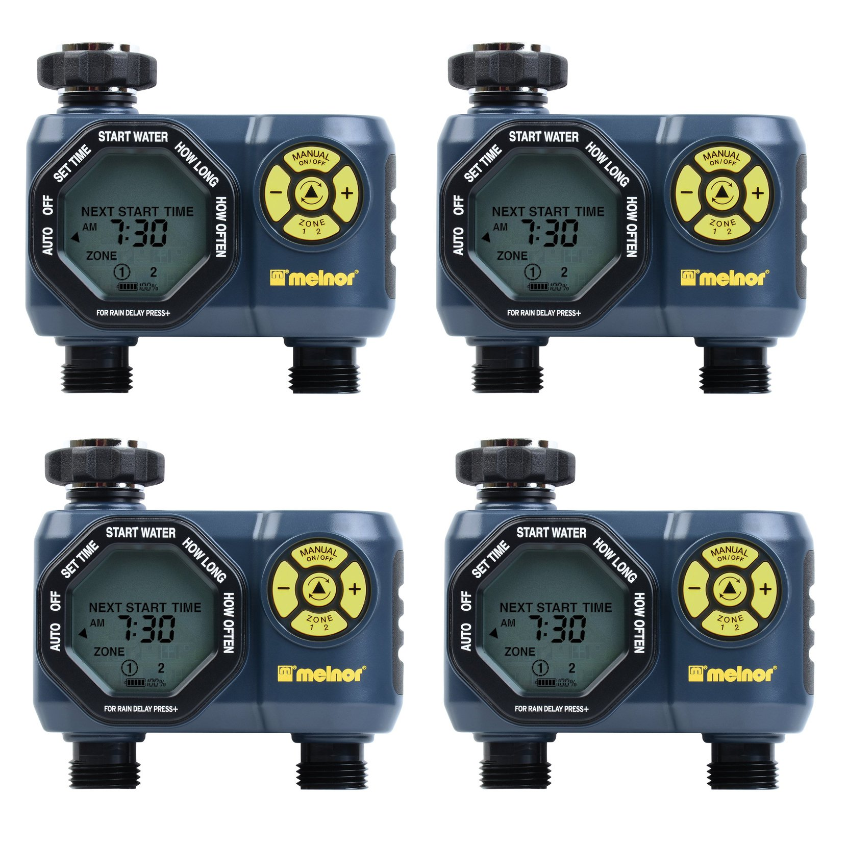 Melnor Digital 2 Zone Programmable Water Timer and Controller for Garden (4Pack) by Melnor