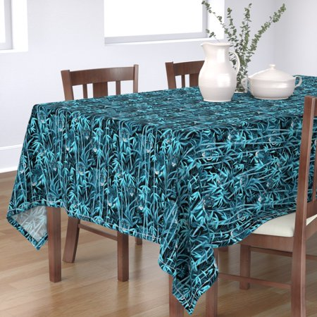 Tablecloth Tiger Tropical Bamboo Jungle Aqua Black Monochrome Cotton Sateen Tropical Black Bamboo