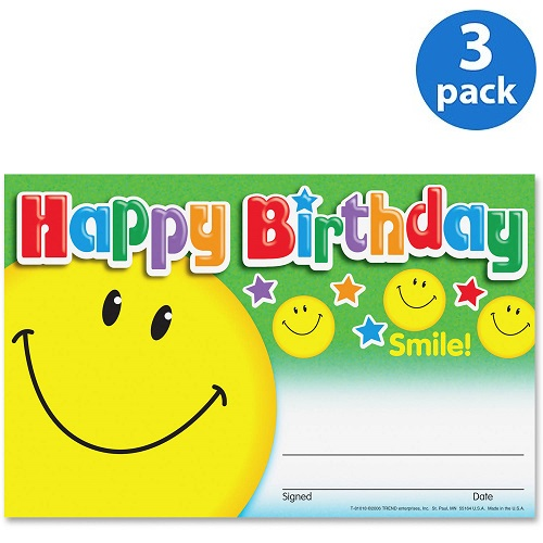 (3 Pack) Trend, TEP81018, Happy Birthday Smile Recognition Awards, 30 / Pack, Multicolor
