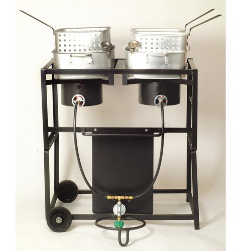 "King Kooker #KKDFF30T 30"" Dual Outdoor Propane Frying Cart"
