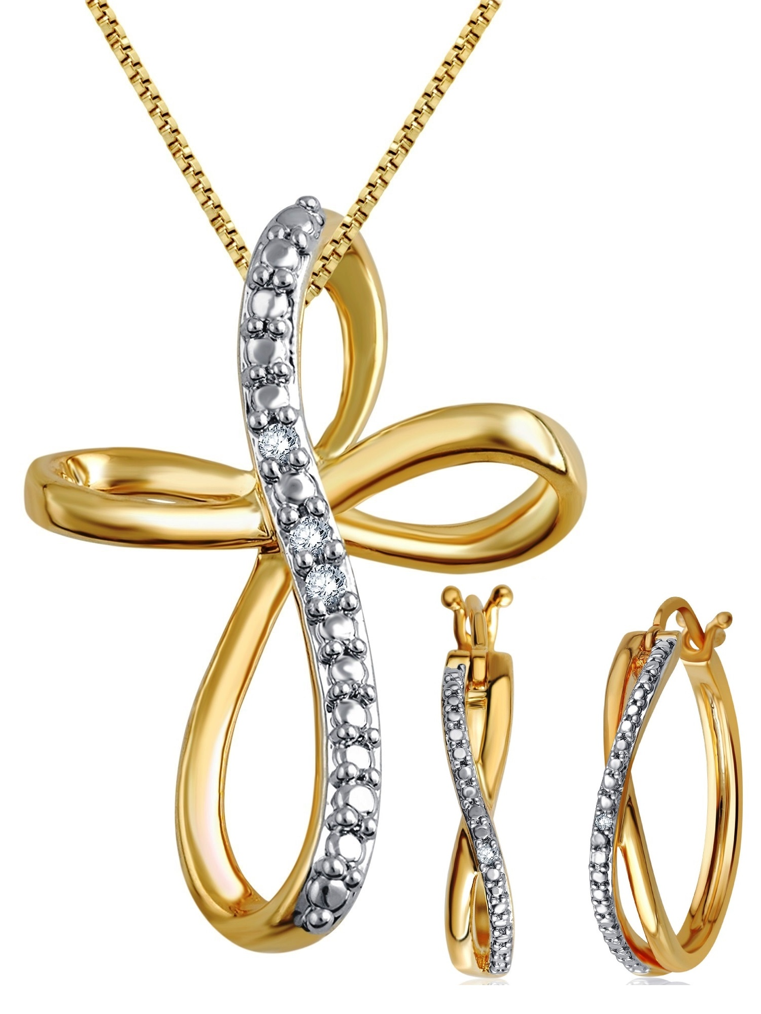Gorgeous 0.25  Carat Diamond Accent  2 Piece Criss Cross Hoop Necklace & Earrings Set  In 14K Yellow Gold Plated