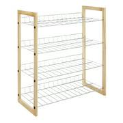 "Whitmor 4 Tier Closet Shelf - Storage Organizer - Natural Wood & Chrome - 11.63""x 25.0"" x 27.5"""