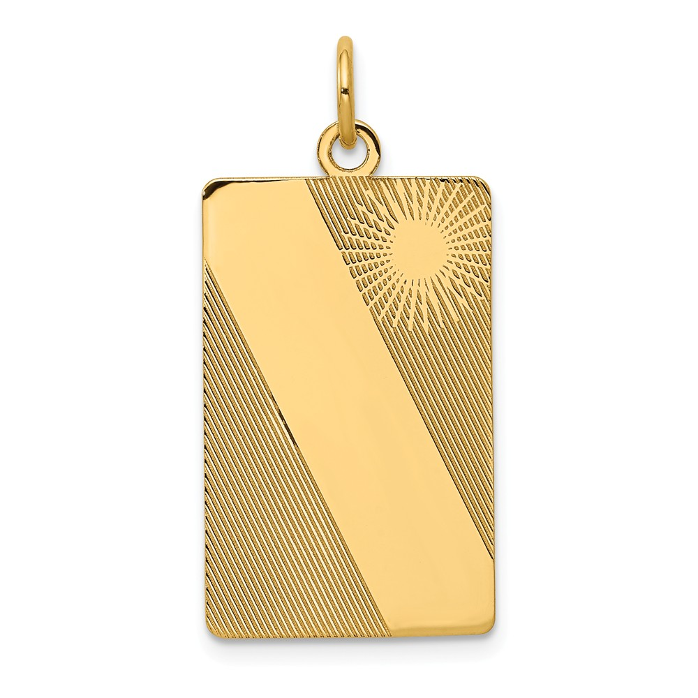 14k Yellow Gold Patterned 0.013 Gauge Engravable Dog Tag Disc Charm (1.2in long x 0.8in wide)
