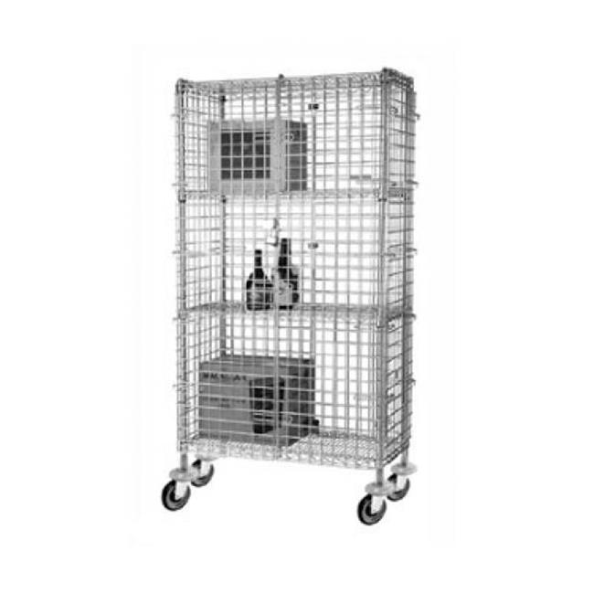 FocusFoodService FMSEC1836 18 inch W x 36 inch L x 63 inch H Mobile Security Cage - Chrome