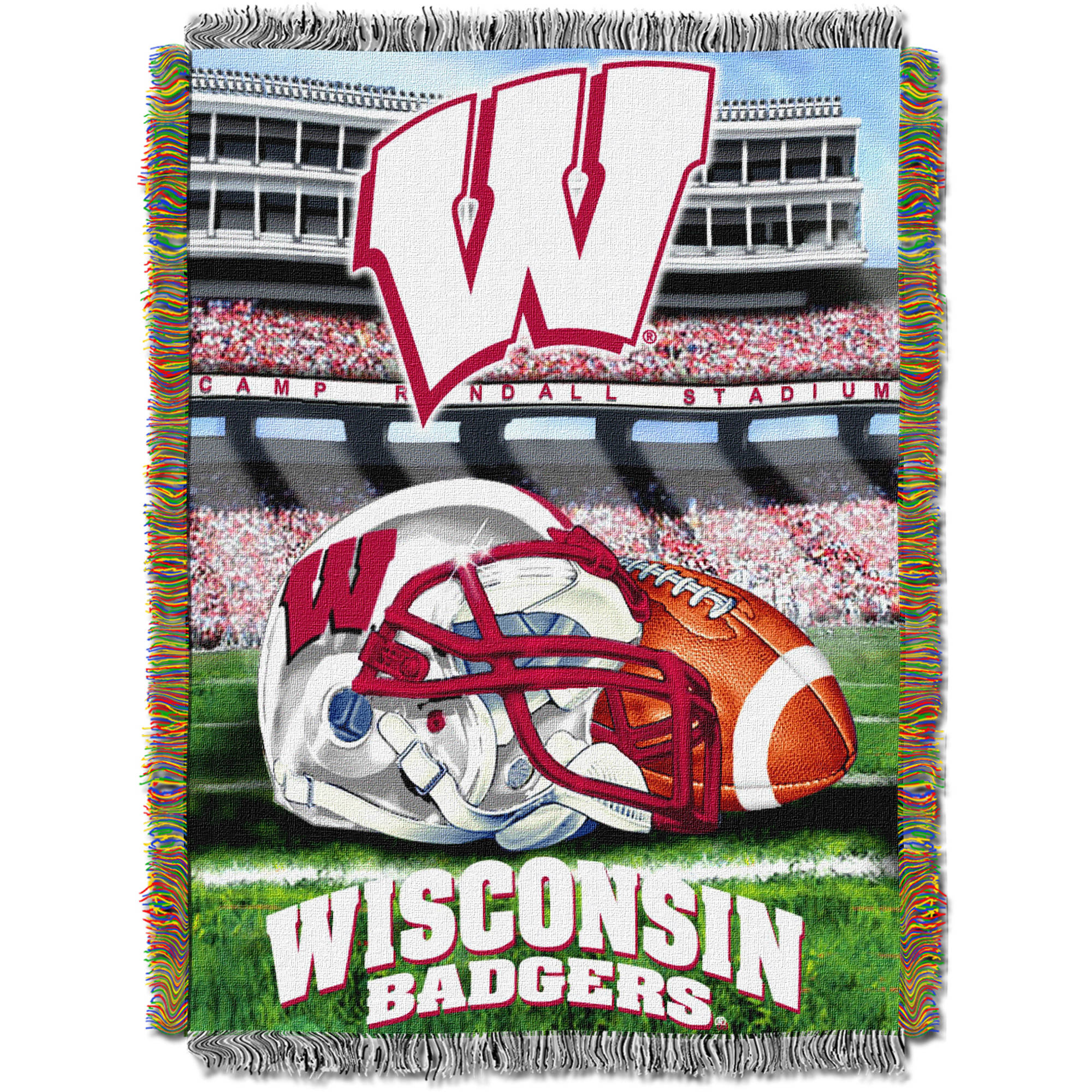 """NCAA 48"""" x 60"""" Tapestry Throw Home Field Advantage Series- Wisconsin"""
