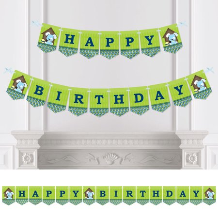 Boy Puppy Dog - Birthday Party Bunting Banner - Blue Party Decorations - Happy - Puppy Dog Birthday Decorations