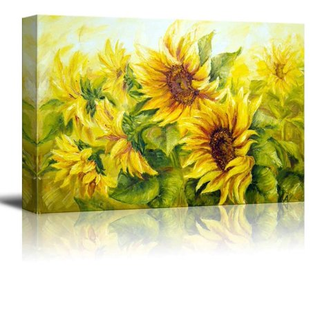 wall26 Canvas Prints Wall Art - Sunflowers in Oil Painting Style | Modern Wall Decor/Home Decoration Stretched Gallery Canvas Wrap Giclee Print & Ready to Hang - 12