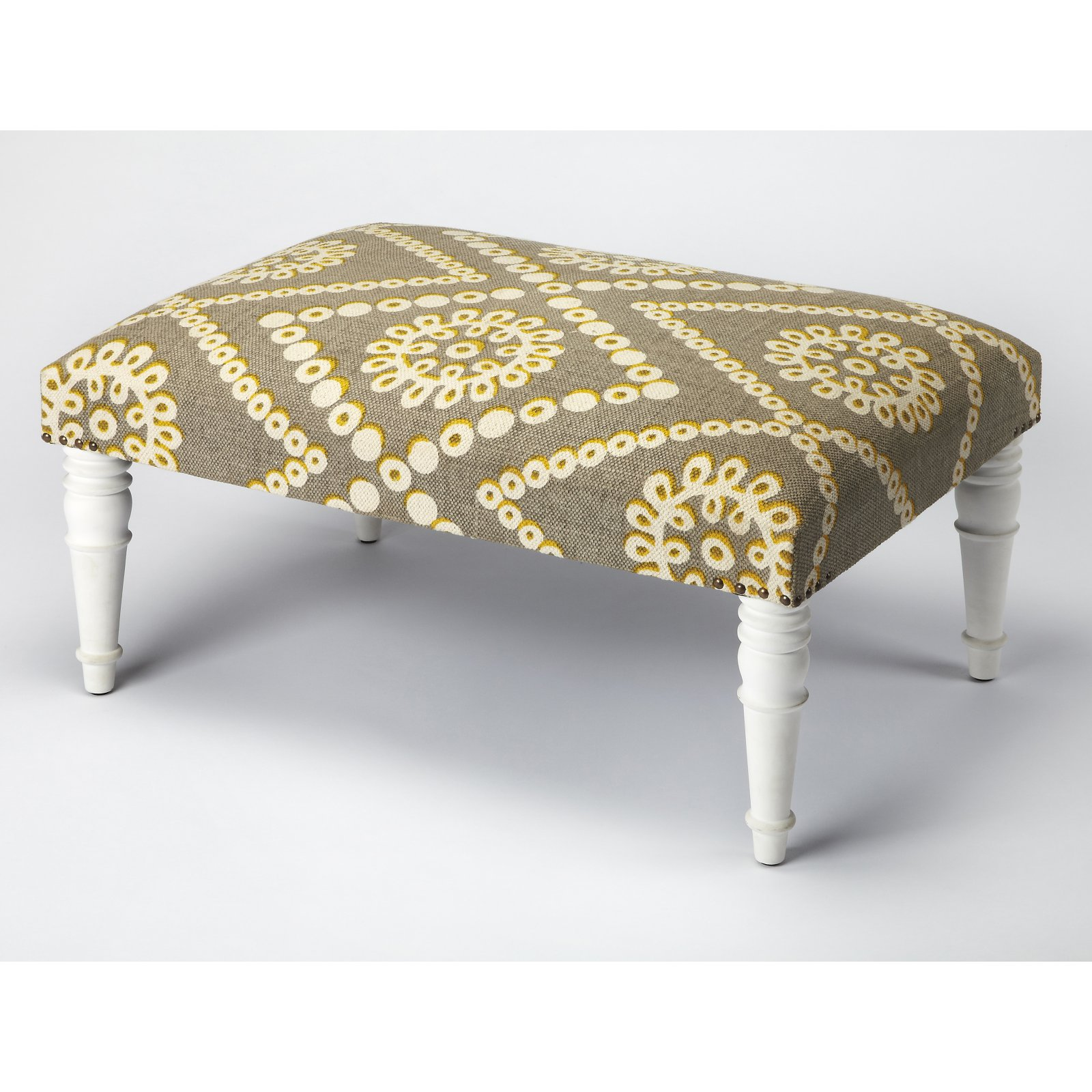 Butler Specialty Lucinda Upholstered Floral Cocktail Ottoman