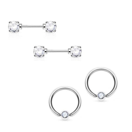 Captive Bead Nipple Rings Cbr (Round CZ Nipple Ring 14G Barbell And Captive Surgical Steel 2)