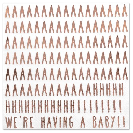 Koyal Wholesale We're Having a Baby Funny Quotes Cocktail Napkins, Rose Gold Foil, Bulk 50 Pack Count 3 Ply Napkins](Napkins Wholesale)