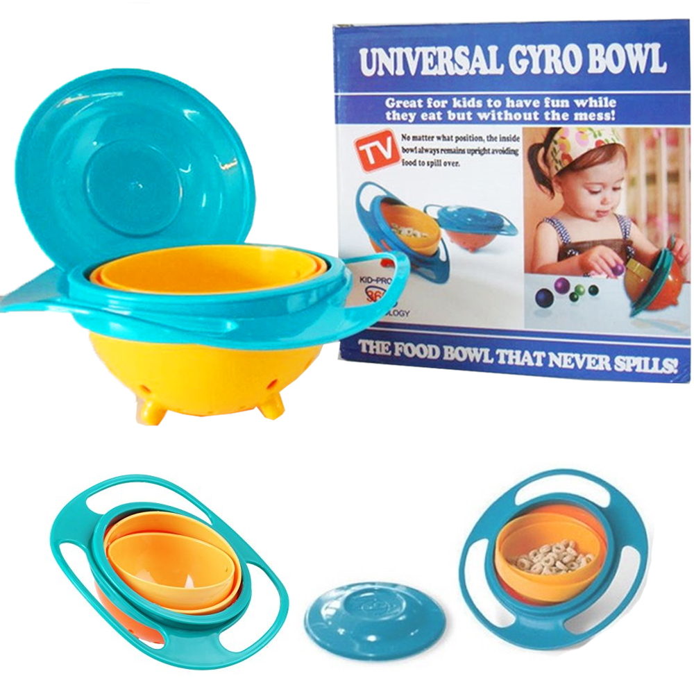 Universal Gyro Bowl Rotary No Spilling Cup Pod Lid Fun Baby Kids Snack Food Dish