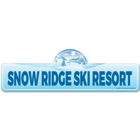 - Snow Ridge Ski Resort Street Sign | Indoor/Outdoor | Skiing, Skier, Snowboarder, Décor for Ski Lodge, Cabin, Mountian House | SignMission personalized gift