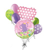 7 pc It's a Girl Elephant Baby Shower Balloon Bouquet Party Decoration Jungle