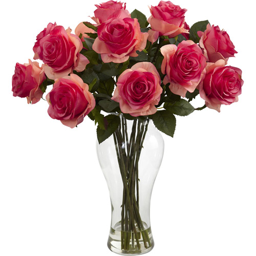 Nearly Natural Blooming Roses with Vase, Dark Pink