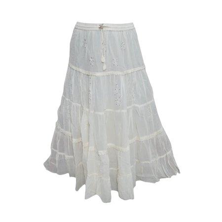 Mogul Womens White Skirt Sequin Work Elastic Waist Boho Style Beach Skirts