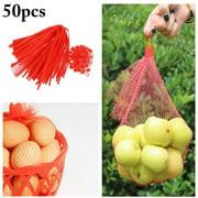 50PCS Fruit Net Bags Reusable Plastic Net Bags Mesh Storage Bags for Vegetables