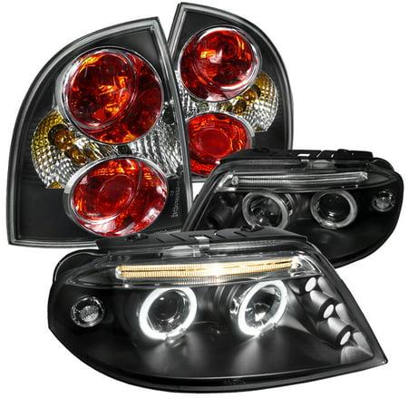 01 Awd Brake - Spec-D Tuning Black Led Halo Projector Headlights + Black Tail Brake Lamps For 2001-2005 Volkswagon Passat (Left + Right) 01 02 03 04 05