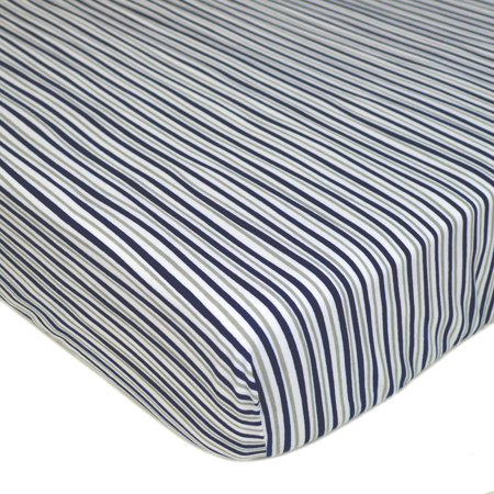 American Baby Company 100% Cotton Jersey Knit Fitted Crib Sheet for Standard Crib and Toddler Mattresses, Navy/Grey Funny Stripes, Bundle of 2