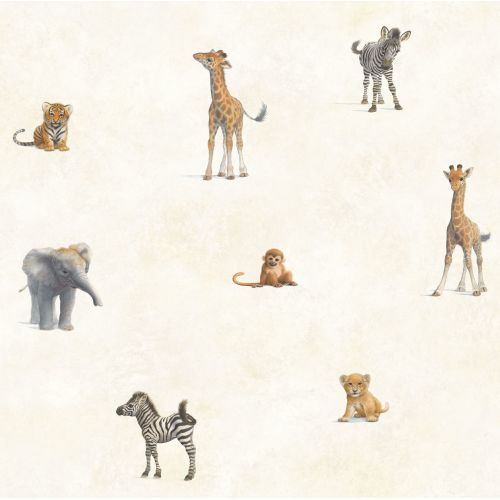 Brewster TOT47131 Mirage Grey Jungle Animal Toss Wallpaper