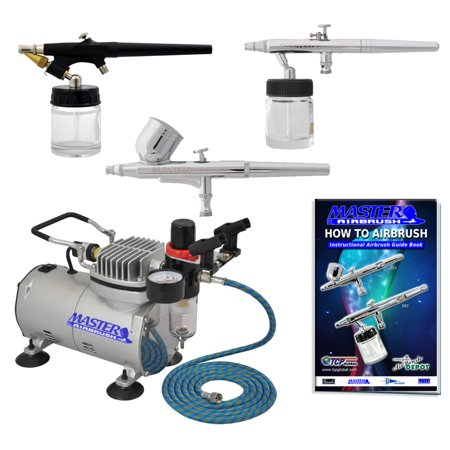 Pro Airbrush System With Set Of 3 Airbrushes  Air Compressor Kit Dual Action