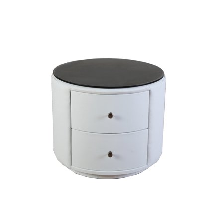 Greatime NL2002 Round Nightstand with Two Drawers, White ()