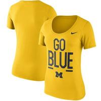 Michigan Wolverines Nike Women's Cotton Local Spirit Scoop Neck T-Shirt - Maize - L