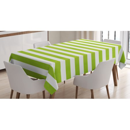 Lime Green Tablecloth, Horizontal Stripes Simplistic Watercolor Paintbrush Large Lines Image, Rectangular Table Cover for Dining Room Kitchen, 60 X 90 Inches, White Lime Green, by Ambesonne